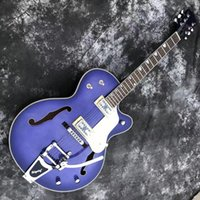 New Arrival 6 Strings Purple Semi Hollow Electric Guitar with Tremolo System,Roseood Fretboard