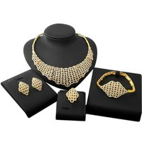 Earrings & Necklace Yulaili Vintage Dubai Gold Jewelry Sets For Women High Quality Crystal Choker Stud Bracelet Ring Accessories