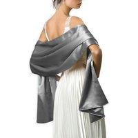 Kadınlar Için 16 Renk Silketleri Akşam Cape Elbise Sarar Şallar 240 * 70 cm Saten Uzun Örgün Düğün Parti Balo Sarar Bayan Bolero