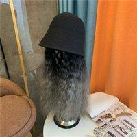 Nueva peluca sombrero femenino otoño invierno joker bucket sombrero largo recto pelo moda en línea celebridad pelo pescador mujer de alta calidad x0128