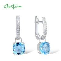 Santuzza argent Boucles d'oreilles pour femmes 925 Sterling Sterling Dangle Boucles d'oreilles Sky Blue Cubic Zirconia Brincos Bijoux de mode 210311
