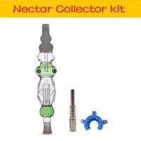 Стекло NC Collector Kit с 14 мм Titanium Tips Tips Quarz Nail Tips Keck Clip Mini NC Wax Oil Dab Буровые установки соломенные портативный дым для курящих труб