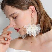 E4472 Holiday Wind Fairy Air Tuch Kunst Großes Blütenblatt Blume Ohrringe Wald Ohrringe Weibliche Korean Temperament Frische Ohrringe