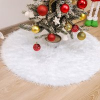 Christmas Tree Plush Skirt Ornaments Round Snow White Xmas Trees Dress Mat Base Cover for Merry Decor & New Year Party Home Holiday Snowy Decorations