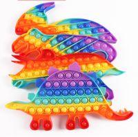 Empurre Bubble Sensory Fidget Squishy Figet Stress Reliever Brinquedos Adulto Criança Engraçado Anti-Reliver Anti-Stress Presente Grande Dinossauro