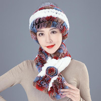 Beanies Women Knit Real Rex Fur Hat Scarf Sets Natural Warm Scarves Winter Lady