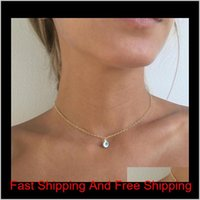 Mini Evil Eye Halskette Waterdrop Anhänger Halsketten Gold Silber Überzogene Kette Frauen Mädchen Mode Fine Schmuck T029 HDMJX VY6JP