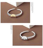 빈티지 실버 컬러 행복 한 미소 얼굴 여성을위한 오픈 반지 펑크 힙합 조정 가능한 반지 패션 쥬얼리 선물