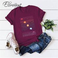 ÉLIMIYYA Abstrait T-shirt Femmes T-shirt surdimensionné T-shirt à manches courtes à manches courtes O-Cou Vêtements Pour femmes Tops Tees 2021 Été Top 210302