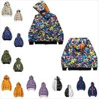 남성 상어 후드 Luminous 위장 고품질 스웨터 남성과 여성 카디건 후드 스웨터 지퍼 자켓 가져 오기 토트 백 0201