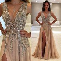 Color Luxury Beaded Side Split Prom Dresses 2020 Deep V Neck See Through Back Party Saudi Arabic Long Evening Dresses Crystal Plu