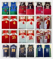 Vintage Rerto Basketball Spud 4 Webb 8 Steve Smith Jerseys 44 Pistolet Pete Maravich Dikembe 55 Mutombo Muches de maille respirante