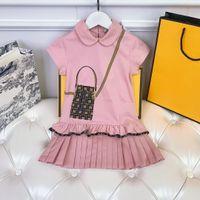 Dos vestidos de peincess de meninas marca designer de algodão casual saia doce senhora rosa tamanho cor rosa 100-150