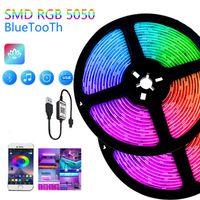 Светодиодные полосы Светодиодные Света Гибкие RGB USB 5V Огни для комнатной Подсветка Bluetooth Соединение Автомобиль Интерьер