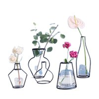 Yaratıcı DIY Vazo Parti Ev Dekorasyon Siyah Bitki Pot Standı Tutucu Demir Tel Çiçek Vazolar A17