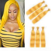 """Reine gelbe seidige glattes brasilianisches menschliches haarbündel-bündeln deals 3 stücke lot gelb gelb farbige jungfräser menschliche haare weave fefts 10-30 """"gemischte länge"""