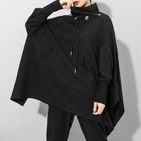Women's Hoodies & Sweatshirts Women Gothic Turtleneck Hoodie Oversize Loose Autumn Streetwear Casual Sweatshirt Drawstring Black Hight Stree