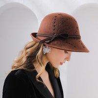 Stingy Brim Şapkalar Beckyruiwu Lady Parti Örgün Özel Gölge Fedora Kadınlar Sonbahar Ve Kış Asimetrik Yün Keçe Şapka