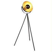 Tozzik Retro Studio Floor Lamp Vintage Tripod Standing Light in Black Gold E27 Socket 34 cm Lampshade 147cm Base Metal Lamps for Living Room Bedroom TZ03