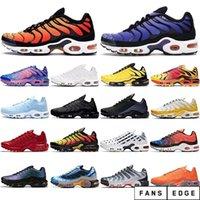 2021 Moda Açık Erkekler TN Koşu Ayakkabıları Üçlü Siyah Beyaz Gerilim Mor Siyah Volt Güneş Kırmızı Deluxe Spor Erkek Eğitmenler Sneakers ABD 7-11