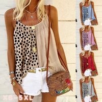 2021summer Women's Vacation Seaside Style Leopard Splicing Ruffled Printed Camisole Vest