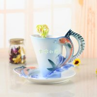 Cups & Saucers Arrival Sword Fish Coffee With Spoon Milk Breakfast Cup Saucer 3D Bone China Ceramic Drinkware Lovers Gift