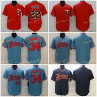 Mens 22 Miguel Sano Baseball Jerseys 24 Josh Donaldson 34 Kirby Puckett 스티치 FlexBase 멋진베이스 팀 레드 네이비 라이트 블루