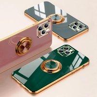 فاخر الطلاء سيليكون الحالات الهاتف لفون 13 12 11 برو ماكس xs XR X 7 8 زائد iphone12 12pro حلقة حامل الوقوف كامل المغناطيسي الذهب الكهربائي غطاء