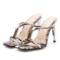 Slippers 2021 Summer Women 10.5cn High Heels Mules Slides Female Open Toe Snakeskin Slipper Sandals Luxury Serpentine Shoes YQS-6
