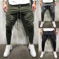 Erkek Casual Fermuar Jogger Pantolon Slim Fit Egzersiz Koşu Sweatpants Cep Erkekler Ile Spor Eşofman Dipleri Sıska Pantolon K115