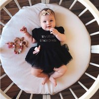 Rompers Born Baby Girl Dress Letter Print Lace Short-sleeved Black Princess Tulle Party Bow Decoration For Summer
