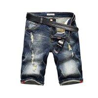 Mens jeans estilista zíper rasgado buraco esticar denim shorts casual moda