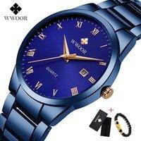 Armbanduhren Wwoor schwarz blau Uhr Männer Luxus Analog Display Datum Wasserdichte Edelstahl Quarz Herrenuhren Männliche Armbanduhr Uhr 2021