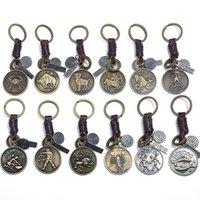Signo do zodíaco chaveiros para homens mulheres genuíno couro real 12 constelações vintage ouro cor liga de metal chaveiro carro chaveiro titular c3