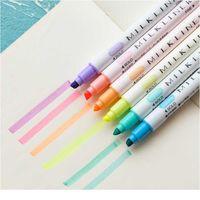 12 Renkler / Set Sevimli Süt Liner Kalemler Vurgulayıcı Çift Çift Başlı Floresan Kalem Çizim Marker Kalem Kırtasiye Schoo Jllgfk