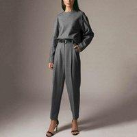Pantalones para mujer de dos piezas para mujer 2 Outfit Ropa de invierno Glmcacy Grey Woolen Fashion Traje Mujeres Cuello redondo Suéter Temperamento