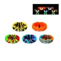 Smoking Colorful Silicone Multi-function Ashtrays Herb Tobacco Cigarette Holder Glass Bowl Dabber Hookah Bracket Base Innovative Design Luminous Decorate DHL