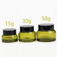 Frascos de armazenamento frascos de alta qualidade oblíquo fosco verde vidro cosméticos creme frasco frasco recipiente potenciômetro 15g 30g 50g