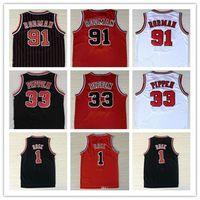 İade En İyi Kalite 1 Derrick Rose Nefes Spor 33 Scottie Pippen Jersey Ucuz 91 Dennis Rodman Spor Basketbol Forması