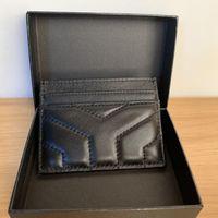 Cartera Titular de la tarjeta de alta calidad Monedero de monedas Negro Caviar Negro Sheepskin 100% Cuero genuino Mini V Paquete de crédito de celosía con caja