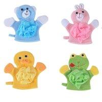 4Colors Animals Style Showers Sponge Towels Cute Children Baby Shower Bath Towel Bathing Wash Cloth Body Scrub Glove Bathings OWE8367