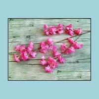 Wreaths Festive Party Supplies Home & Garden5 Color Plastic& Silk Artificial Flowers For Wedding Diy Peach Blossom Cherry Plum Branch Decora
