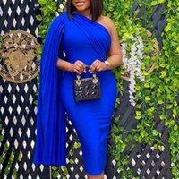 Casual Dresses Elegant party dress feminine sexy celebrity shoulder ruched ribbon runway bodycon big blue prom dinner 2xl SC58