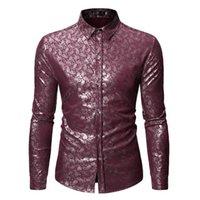 남자 버튼 아래로 금지 셔츠 남자 shinny 꽃 인쇄 세련된 슈페리얼 슬림 피트 긴 소매 드레스 파티 셔츠 CS71