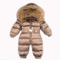 Kış Sıcak Aşağı Bebek Erkek Tulumlar Kapşonlu Gerçek Kürk Kızlar Tulum Uzun Kollu Unisex Onesie Tulum Toddler Snowsuit 210226