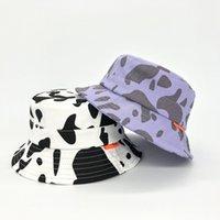 봄 여름 새로운 암소 패턴 양동이 모자 아이 코튼 어부 모자 소녀 소년 여름 파나마 태양 모자 야외 해변 낚시 모자