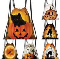 Halloween Candy Bag Pumpkin Printed Gift Bundle Pocket Polyester Drawstring Bag Student Portable Backpack Outdoor Shopping Bags sale G89M1CV