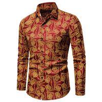 남성 캐주얼 셔츠 2021 하와이안 긴팔 셔츠 유럽 코드 폭발 모델 인쇄 된 화학 의류