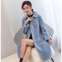 Women's Fur & Faux Women 2021 Winter Real Wool Long Coat Jacket Female Warm Genuine Coats Ladies Casual Sheep Shearling Outerwear A556