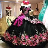 Vintage Black 3D Floral Flowers 2021 Off shoulder Charro Cheap Quinceanera Prom Formal Dress Ball Gown Mexican Plus size Vestidos 15 Anos
